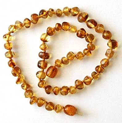 Bouncy Baby Boutique(TM) Baltic Amber Teething Necklace - N11 Baroque Honey