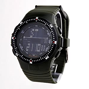 TIME100 Cool Multifunction Dark Army Green Strap Sport Electronic Watch #W40018M.01A