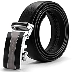 KS Black Mens Dress Long Real Leather Belt with Auto Lock Steel Buckle