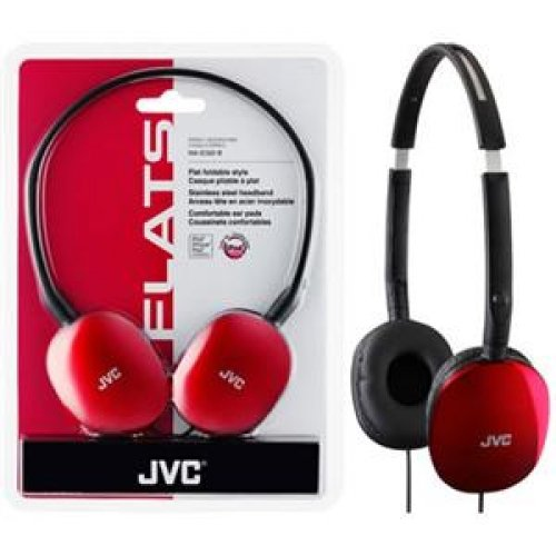 Jvc Ha-S160 Flats Headphone /Stereo - Red - Wired - 32 Ohm - 12 Hz 24 Khz - Gold Plated - Over-The-Head - Binaural - Ear-Cup - 3.93 Ft Cable / Has160R /