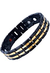 Exquisite Stainless Steel Mens Magnetic Gold Black Bracelet with Magnets