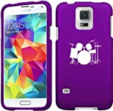 Samsung Galaxy S5 Snap On 2 Piece Rubber Hard Case Cover Drum Set Purple