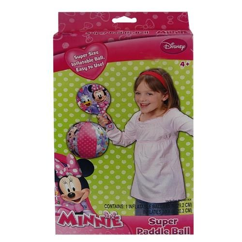Disney Minnie Mouse Inflatable Toy Deluxe Paddle Ball Set for Outdoor or Indoor Play Inflates up to 8""
