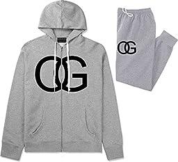 Kings Of NY OG Original Gangsta Mens Sweat Suit Hoodie Pants Grey XX-Large