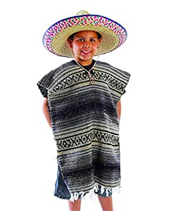 US Toy Child Size Traditional Poncho No Sombrero,COLORS MAY VARY