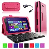 Infiland Folio PU Leather Slim Fit Stand Case Cover for Dell Venue 8 Pro 32GB/64GB Model 5830 Windows 8.1 8-inch Tablet + Bluetooth Keyboard + Free OTG Cable (DELL Venue 8 Pro Windows 8.1 Tablet Hot Pink)