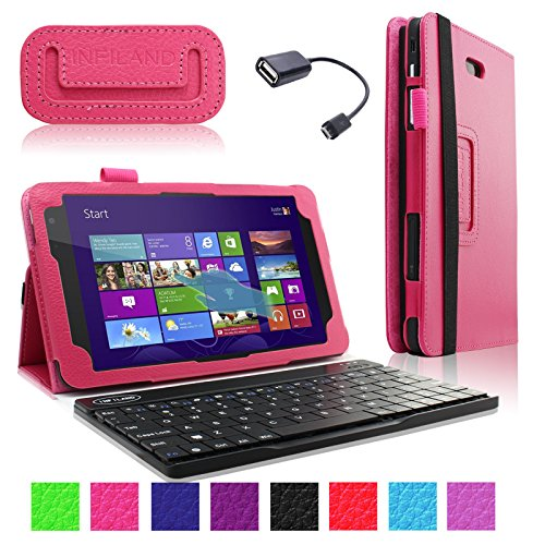 Infiland Folio Pu Leather Slim Fit Stand Case Cover For Dell Venue 8 Pro 32Gb/64Gb Model 5830 Windows 8.1 8-Inch Tablet + Bluetooth Keyboard + Free Otg Cable (Dell Venue 8 Pro Windows 8.1 Tablet, Hot Pink)