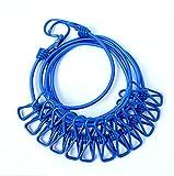 SZM 物干しロープ 12個クリップ付き マルチ機能ハンガー アウトドアハンガー 旅行 キャンプ用ハンガー 伸縮物干し竿 (青い)