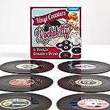 Vinyl Untersetzer 6er Set Schallplatte Glasuntersetzer in Retro Design