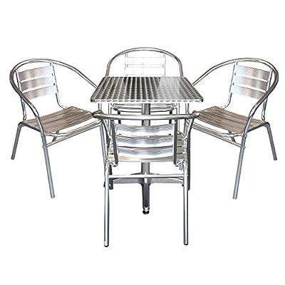 Elegantes 5-teiliges Aluminium Bistromöbel Balkonmöbel Set Gartentisch Klapptisch 60x60x70cm + 4x Gartenstuhl Stapelstuhl Gartenmöbel Terrassenmöbel von Multistore 2002 auf Gartenmöbel von Du und Dein Garten
