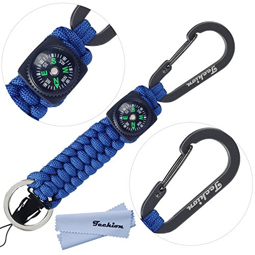 Techion[60-inch Disassembled Length]7-inch Braided Strong Paracord Survival Keychain Key Ring with [Compass][Carabiners][Quick Release Clip](Blue)