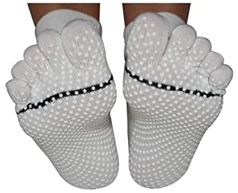 ToeSox Full Toe with Grip Yoga/Pilates Toe Socks, White, Xsmall