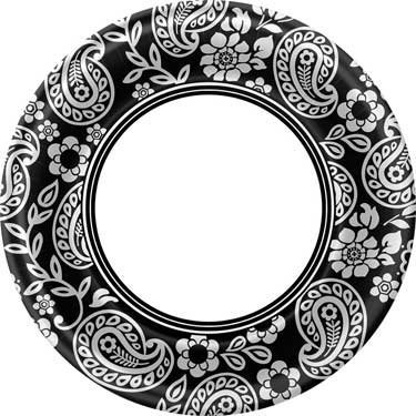 Black and White Paisley Dinner Plates - 1