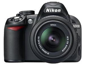 Nikon D3100 SLR-Digitalkamera (14 Megapixel, Live View, Full-HD-Videofunktion) Kit inkl. AF-S DX 18-55 VR Objektiv schwarz