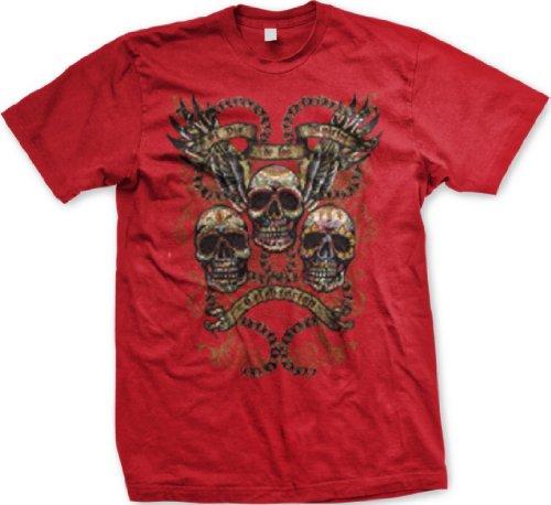 El Dia De Los Muertos Mens Tattoo T-Shirt, Painted Sugar Skulls, Wings, Chains Old School Tattoo Mens Tee, Xxx-Large, Red