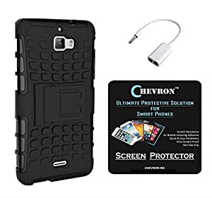Chevron Hybrid Military Grade Armor Kick Stand Back Cover Case for Coolpad Dazen 1 with HD Screen Guard & Audio Splitter (Black)