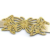Golden Sun Butterfly Crystal On Faux Suede Band Bracelet With Button Clasp