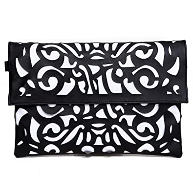 HDE Women's Neon Color Hollow Laser Cut Out Clutch Crossbody Messenger Handbag (Black)