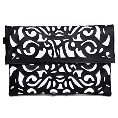 HDE Women's Neon Color Hollow Laser Cut Clutch Crossbody Tablet Messenger Handbag