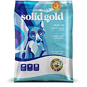 Solid Gold Wolf Cub Holistic Dry Dog Food, Bison & Oatmeal, Moderately Active Puppies, Medium & Large, 24lb Bag
