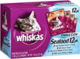 Whiskas Choice Cuts Seafood Variety Pack (Tuna, Whitefish & Tuna, Salmon, Cod & Shrimp) Food for Cats & Kittens, 3-Ounce Pouches (Pack of 48)