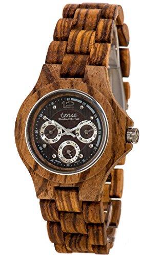 Holzuhr TENSE Mens Northwest Premium Herren-Uhr G4300Z-BG - Nat&uumlrliches Zebranoholz G4300Z-BG