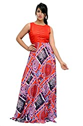 Charu Boutique Embroidered Flaired Multicolored Evening Gown Party Wear Dress