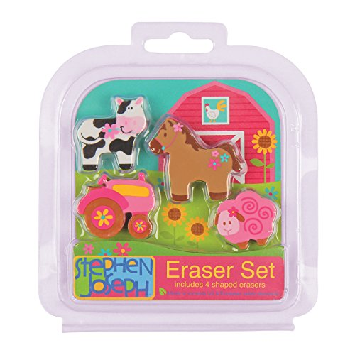 Stephen Joseph Girl Farm Eraser Set (4-Piece)