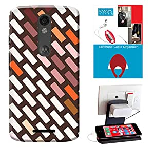KanvasCases Printed Back Cover For Motorola Moto X Force + Free Earphone Cable Organizer + Mobile Charging Holder/Stand