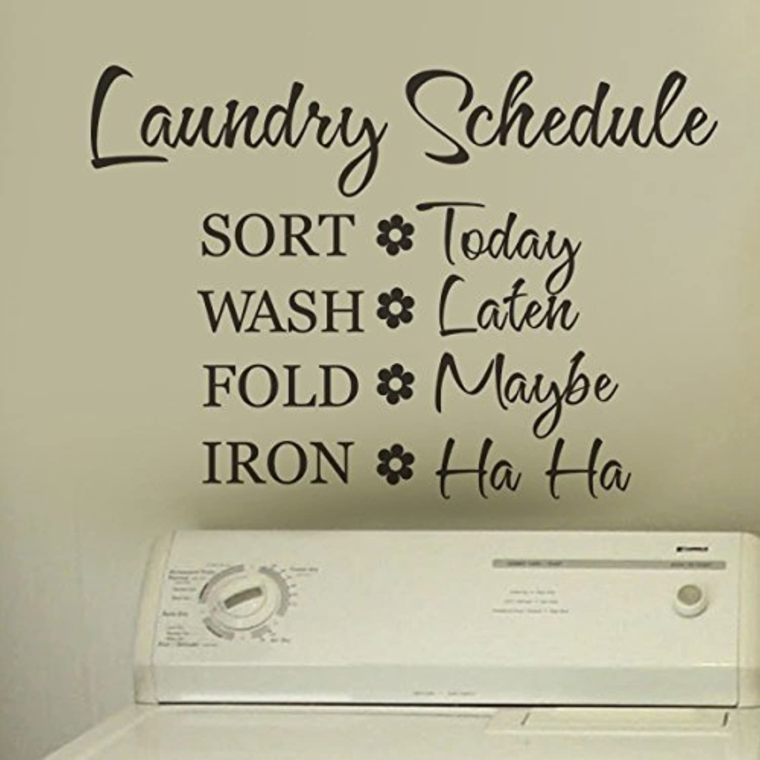 Graphic Quotes Wall Art   White Or Pool : Laundry schedule wall quote decal funny