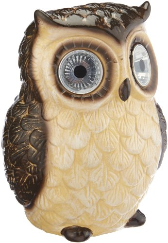 Smart Solar Ceramic Bright Eye Owl Spotlight Brown Or White Available (Brown)