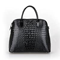 Fineplus Women's Genuine Patent Leather Crocodile Embossed Leather Tote Bag