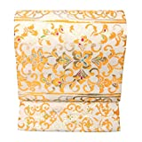 特選 西陣 正絹 袋帯 絹 芯 仕立て上がり たつむら 錦 龍村 美術 織物 袋帯 西陣織 正絹 透彫栄華文 生成色 金色 六通 仕立て上り 絹芯 仕立て
