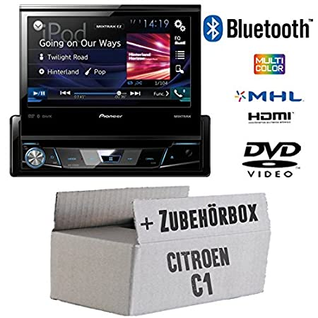 Citroen C1 - Pioneer AVH-X7800BT - 1-DIN 7-Zoll USB Bluetooth DVD - Autoradio - Einbauset