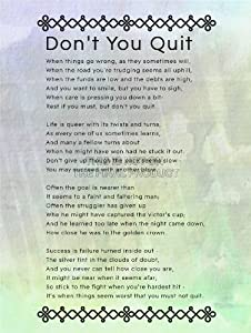 Revered image with don't quit poem printable