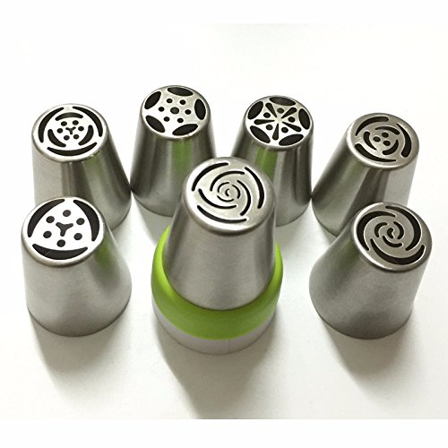 [7PCS Stainless Steel Russian Tulip Icing Piping Nozzle + 1 Adaptor Converter Pastry Decorating Tips Cake Cupcake Decorator] (Vinyl Rock Star Costumes)