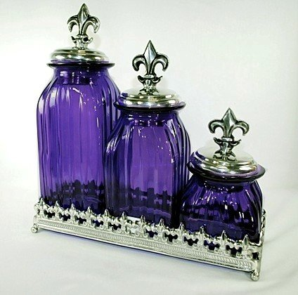 fleur de lis kitchen canisters set of 3 purple glass