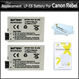 LP-E8 2 Pack Of Replacement Batteries For Canon LP-E8 LPE8 1700MAH For Canon Rebel T5i, T4i, T2i 550D T3i, EOS 600D DSLR Digital Camera Includes 2 Batteries In Total + Free LCD Screen Protectors Bundle
