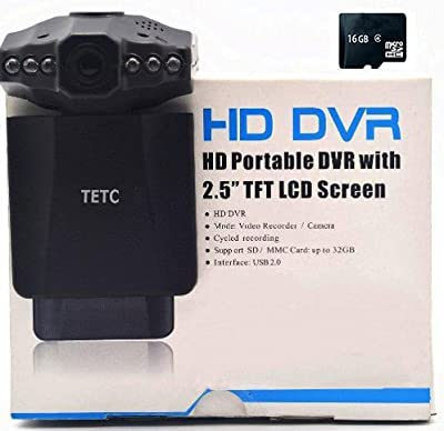 TETC 16GB SDcard + GENUINE 1080 P2.5-inch HD Car LED IR Vehicle DVR Road Dash Video Camera Recorder Traffic Dashboard Camcorder - LCD 270 degrees from The Rear View Camera Center