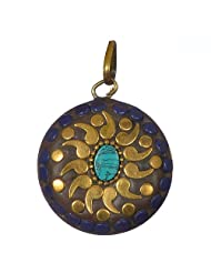 Perfectly Handcrafted Blue Brass Pendant For Women