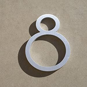 Contemporary Font House Number Aluminum Number Eight 8