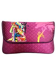 Bhamini Digital Clutch With Suede And Metal Long String (Purple)