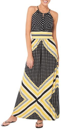 London Times Womens Dot & Stripe Halter Maxi Dress 10 Yellow