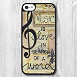 For iPhone 5C Case,Fashion Design Music Note Pattern Protective Hard Phone Cover Skin Case For iPhone 5C +Screen Protector