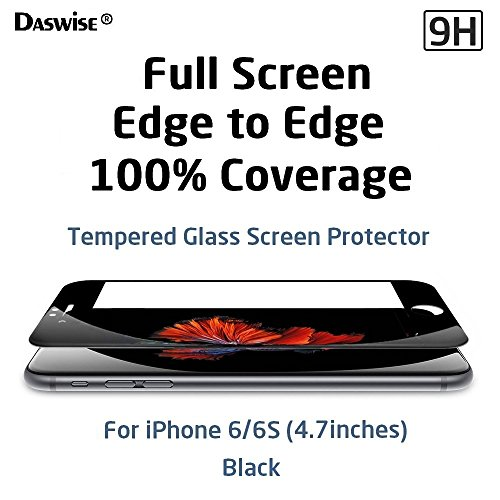 iPhone 6S Screen Protector, iPhone 6 Screen Protector, Daswise 2015 Full Screen Anti-scratch Tempered Glass Protectors with Curved Edge, Cover Edge-to-Edge, Protect Your 4.7 Inches Space Gray iPhone 6/6S Screens from Drops & Impacts, HD Clear, Bubble-free Shockproof [3D Touch Compatible] (4.7 Black)
