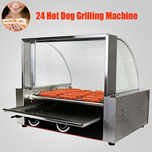 PanelTech 1800W Commercial Quality 24 Hot Dog Maker Warmer Cooker Roller Grilling Machine W/ Cover (9 Roller ) Vending Business North American (Hot Dog Roller Grilling Machine compare prices)