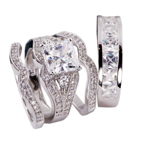 4pcs His and Hers Bridal Engagament Wedding Ring Set .925 Sterling ...