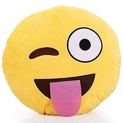32cm Emoji Smiley Emoticon Yellow Round Cushion Pillow Stuffed Plush Soft Toy from Bestcrew-us