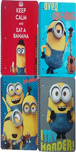 Minion Spiral Notebook ( Cuadernos Escolares ) Wide Ruled For School - 4 Notebooks Total with School Supplies Pencils - Wideruled 70sheets Paper Each - Hole Punched for Binders & Dividing Subjects