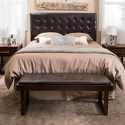 Nolan Queen/Full Bonded Leather Headboard with Coordinating Bench